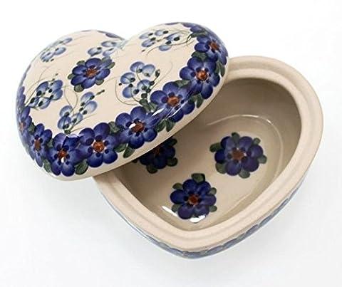 Classic Boleslawiec Pottery Hand Painted Ceramic Heart Shaped Bowl 0.3 litre 124-U-001 by BCV Boleslawiec Pottery