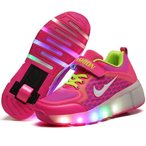KIDS SHOES LED Light Roller Skate Sneakers With Wheels Girls/Boys 8087 (UK 1, Pink)