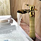 Hlluya Wasserhahn für Waschbecken Küche Antiker Tisch Waschbecken Marmor vergoldete Wasserfall Waschtischmischer heiße und kalte voll Kupfer natürliche Jade Armaturen
