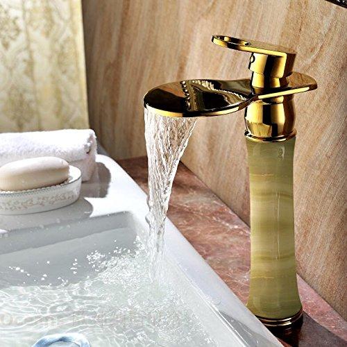 NewBorn Faucet Wasserhähne Warmes und Kaltes Wasser große Qualität antiken Tisch Waschbecken Marmor Waterfallhot und Kalten Voll Kupfer natürliche Jade Wasser S Tippen -