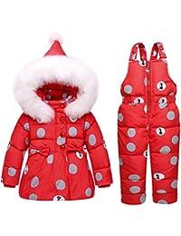 CHIC-CHIC Combinaison de Neige Ski Doudoune Parka à Capuche Rembourré Bébés Filles Garçons Manteau de Duvet Hiver avec Salopette Coupe-vent Épais 2PCS