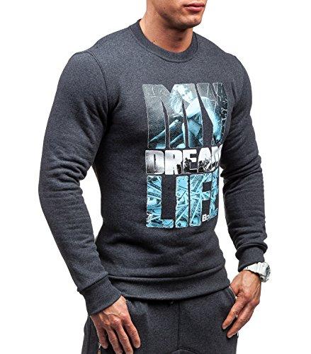 BOLF �?Felpa senza cappuccio �?Pullover �?Sweat-shirt �?BOLF 63S �?Uomo Anthracite