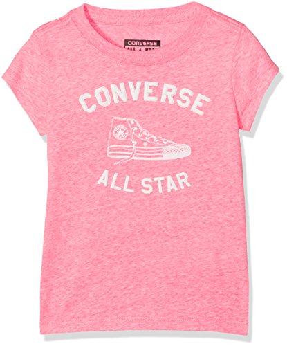 Converse Mädchen T-Shirt Varsity All Star Tee Neo Pink Snow Heather A4P, 2-3 Jahre