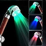 BaBaSM Duschkopf Handheld Badezimmer 3 Farben LED Licht Automatische Temperatursensor Negative Filiter Ball Duschkopf