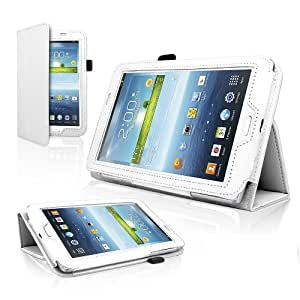 White Leather Flip Book Case Cover Stand for Samsung Galaxy Tab 3 T210 (With magnetic closure)