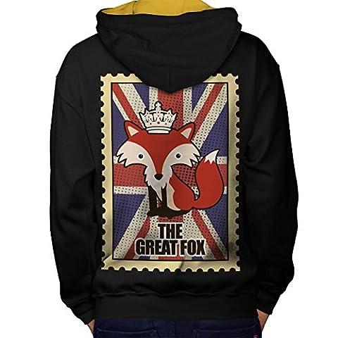 Tier Fuchs Flagge Krone Vereinigtes Königreich Krone Vereinigtes Königreich königlich Men S Kontrast Kapuzenpullover Zurück | Wellcoda