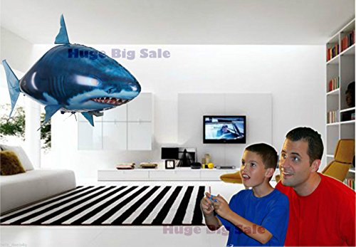 Air Swimming Fish Remote Control Inflatable Flying Shark Toy, Remote RC, Electric, Motion, Infrared