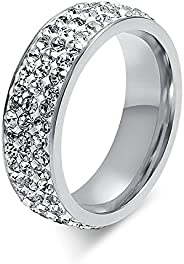 Chryssa Youree 7mm Women Stainless Steel Eternity Ring for Wedding Band Engagement Promise CZ Cubic Zirconia C