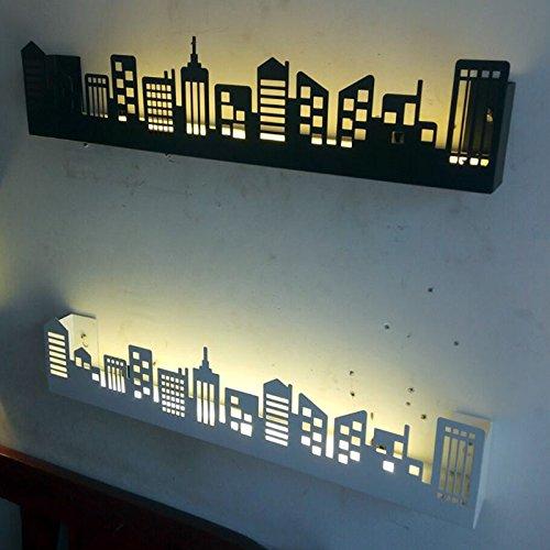 TIANLIANG04 Luces de pared Ciudad De Luces Led Lámpara De Pared Apliques Iluminación Estante Para Salón Dormitorio,White-Nature Blanco