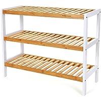 Songmics Étagère à chaussures rangé rangement meuble chaussure 3 niveaux Bambou 70 x 26 x 55 cm LBS03H