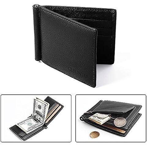 Raccoglitore degli uomini pelle Slim Bifold Portafoglio Nero Con 6 posizioni per carte + Nota Pocket Money Clip + MT251