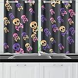 JIUCHUAN Halloween Skull Bones Tende da Cucina Tenda per Finestra Tende per caffè, Bagno, Lavanderia, Soggiorno Camera 26 x 39 Pollici 2 Pezzi