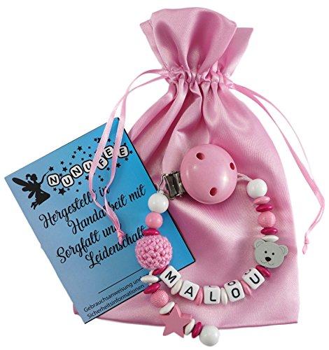 Personalisierte Schnullerkette mit Namen aus Holz in Rosa für Mädchen | verschiedene Designs verfügbar| perfektes Baby-Geschenk zur Geburt und Taufe (Design1)