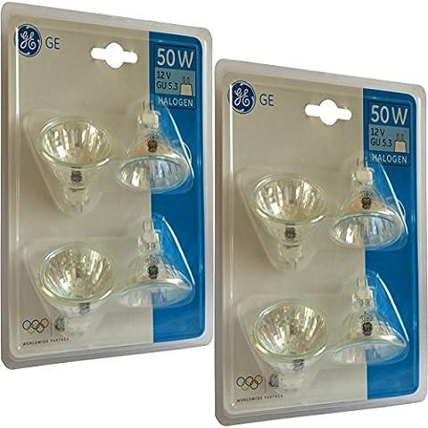8x GE Branded 50W MR16GU5.3dimmerabile lampada alogena a basso voltaggio