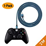 EXINOZ Xbox One Controller Ladekabel   Netzkabel für Xbox One Elite Controller-Ladegerät/Xbox One S/Xbox One X-Controller ersetzen 2m Blau Kabel mit 1-jähriger Ersatzgarantie