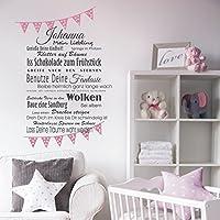 Wandaufkleber Wandtattoo 100x65cm Wimpel + Wunschname, mein Liebling, Wünsche fürs Kind Wandsticker Sticker Wanddeko Kinderzimmer Baby, Mädchen