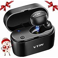 Mini Auricular Bluetooth, VTIN Auricular Invisible Bluetooth 5.0, HD Micrófono incorporado y manos Libres, caja para cargar en Cualquier momento para Hacer Llamadas en Coche y Oficina etc- Negro