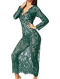Cinnamou Lenceria Mujer Erotica, Ropa Interior de Vestido Manga Largo Mujer Sexy Transparente Encaje Flores Erotica Ligueros Conjuntos Tallas Grandes con Braga