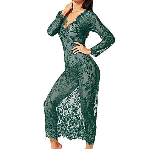 Bhydry biancheria intima donna sexy vestaglia pizzo bella lingerie nera abito lungo(medium,verde)