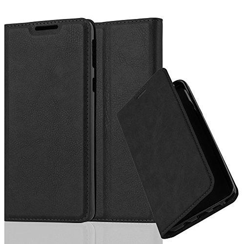 Cadorabo Hülle für Sony Xperia E5 - Hülle in Nacht SCHWARZ – Handyhülle mit Magnetverschluss, Standfunktion und Kartenfach - Case Cover Schutzhülle Etui Tasche Book Klapp Style