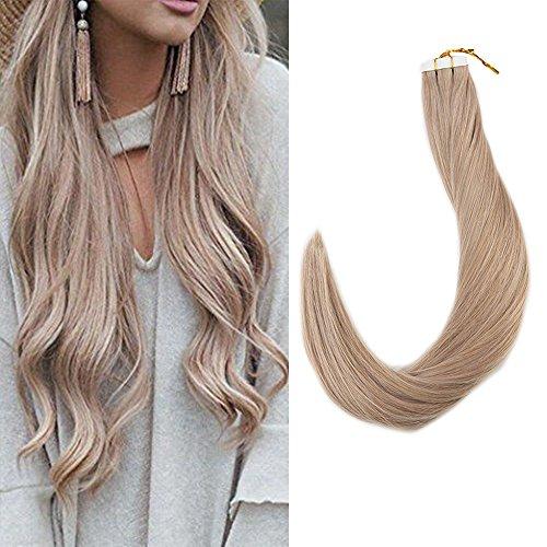 Full Shine 16 Zoll Salon Quality 40 Stuck 100 Gram 100% Remy Brazilian Human Haarverlängerung Ash Blonde #18 Skin Weft Tape in Human Hair Extensions