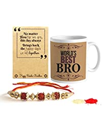 TIED RIBBONS Rakshabandhan Combo of Finest Rakhi with Printed Coffee Mug, 325ml (Multicolour, TR-RB16-RakhiMug038)