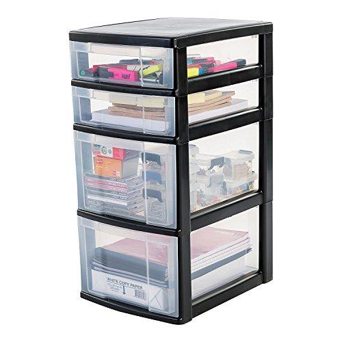 IRIS, Schubladenschrank / Schubladenbox / Rollwagen / Rollcontainer / Werkzeugschrank 'New Chest', NMC-322, mit Rollen, Kunststoff, schwarz / transparent