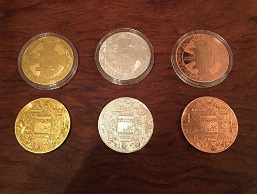 3er Set Bitcoin Münzen / Angreifbare Physische Physikalische Bitcoins – Dekomünzen Krypto-Muster BTC SET 40mm Gold, Silber & Kupfer farbig im Set – Mit SCHUTZKAPSEL - 3