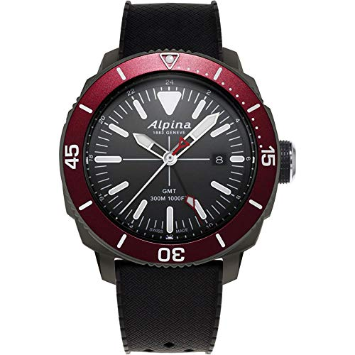 Alpina Geneve Seastrong Quartz GMT AL-247LGBRG4TV6 Reloj de Pulsera para Hombres