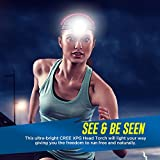 High Power Head Torch with Powerful CREE LED – Waterproof and Super Bright Headlamp for Running, Fishing, Cycling, Camping, Hiking, Dog Walking, Work or DIY c/w Red Filter, Free storage pouch & Duracell Batteries