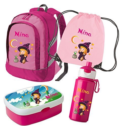 Kinderrucksack Bicolor (Set 5 Rucksack & Brotdose Rosti Mepal Campus midi + Turnbeutel + Trinkflasche Campus Pop-Up) (Rosa)