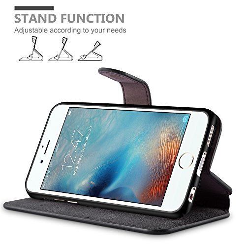 Cadorabo - Aspect Rétro Etui Housse pour Apple iPhone 6 / 6S - Used-Look Coque Case Cover Bumper Portefeuille (avec stand horizontale et fentes pour cartes) en in NOIR-MAT NOIR-MAT