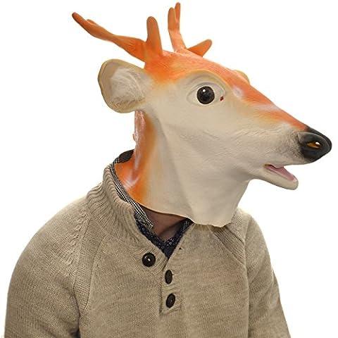 Overhead White Deer Full Head Rubber Latex Mask Fancy Dress Halloween Party Accessory