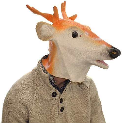 Image of Overhead White Deer Full Head Rubber Latex Mask Fancy Dress Halloween Party Accessory