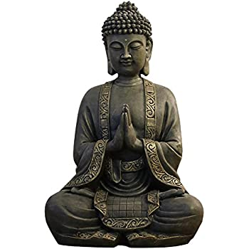 zen 39 light grande statue bouddha m diation r sine bonze 38 x 25 x 50 cm cuisine. Black Bedroom Furniture Sets. Home Design Ideas