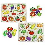 Hillento Pegged Puzzle in Legno, Puzzle dei Bambini di Legno ancorato di Puzzle, l'apprendimento Giocattoli di Formazione prescolare Primi e Giochi per Bambini, Set di 2, Verdura e Frutta