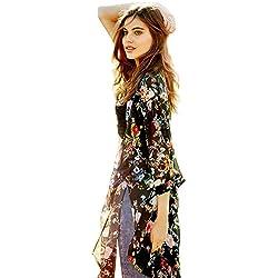 Minetom Mujeres Verano Impreso Floral de la Gasa Mantón Kimono Cardigan  Tops Cover Up Mujeres Cardigans 98ef61d72c9
