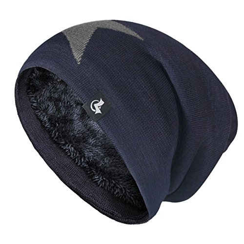 LETHMIK Slouchy Star Long Beanie Warm Winter Ski Skull Cap Knit Hat für Herren und Damen, Herren, Navy, One Size (Superior Elasticity) Fleece Skull Cap Hat