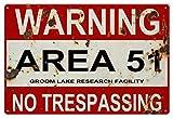 Dozili Panneau en Aluminium avec Inscription « Warning Area 51 No Trespass » 8' x...