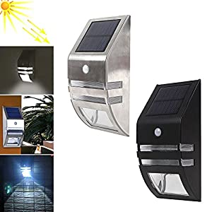 Garden Wall Solar Lights, Rayinblue Solar Powerd Wireless LED Motion Sensor Outdoor Security Wall Lights for Home, Patio, Deck, Yard, Driveway, Garage, Stairs and Outside Wall from Rainyblue