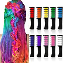 Hair Chalk Temporary Hair Dye Comb 10 Colors, Washable Bright Hair Color Chalks Birthday Gift for Women Girls Kids Hair Dyeing Cosplay Halloween Christmas Parties