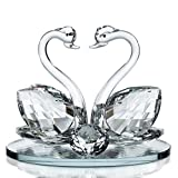 Decorative Crystal Glass Animal Double Swan Model with swarovski crystal elements Giftware Present (set of 2)