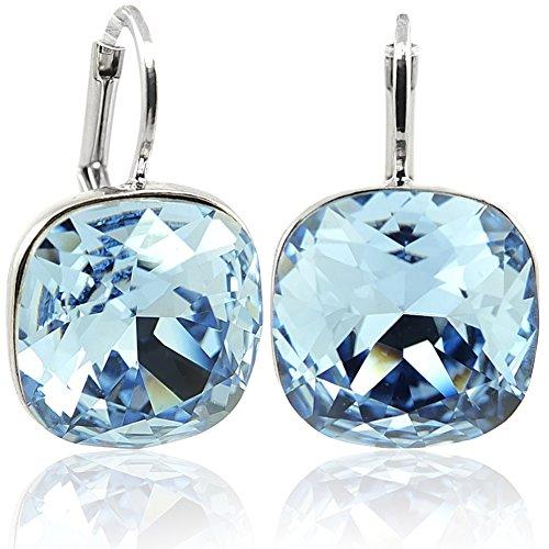 Ohrringe mit Kristalle von Swarovski® Blau Silber NOBEL SCHMUCK