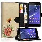 wicostar Book Style HTC Desire 500 Premium PU-Leder Tasche Flip Brieftasche Handy Hülle Kartenfächer mit Standfunktion für HTC Desire 500 - Design Flip MVC11