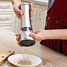 Diswa Stainless Steel Manual Mill Salt and Pepper Grinder Set with Adjustable Coarseness for Salt, Pepper and Other Spices (Grey)