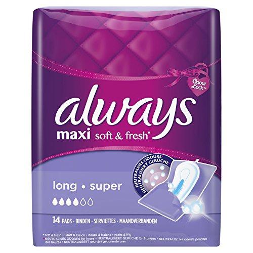 Always Maxi Soft & Fresh Binden Long, 4er Pack (4 x 14 Stück)