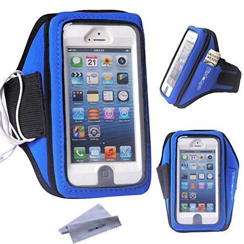 Wisdompro Fascia da Braccio con Cuffie con Organizer & Key per iPhone 5 / 5s / 5c Custodia per iPod Touch 5/6 Defender OtterBox/Lifeproof/Commuter Series (Blu)