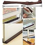 Brown : 1 Pc Useful Coffee Color Twin Door Draft Dodger Guard Stopper Energy Saving Protector Doorstop Home Décor