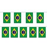 Trixes Wimpelgirlande mit 12 rechteckigen Brasilien Flaggen für Nationale Feierlichkeiten und Sportevents