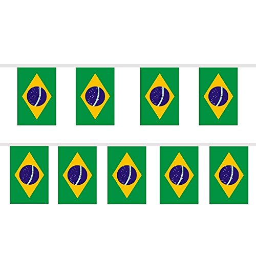 (Trixes Wimpelgirlande mit 12 rechteckigen Brasilien Flaggen für Nationale Feierlichkeiten und Sportevents)